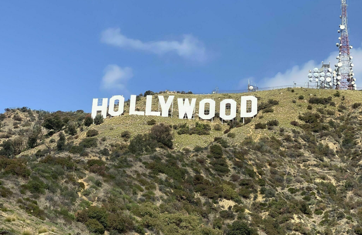 Front view of Hollywood Sign from Innsdale hike