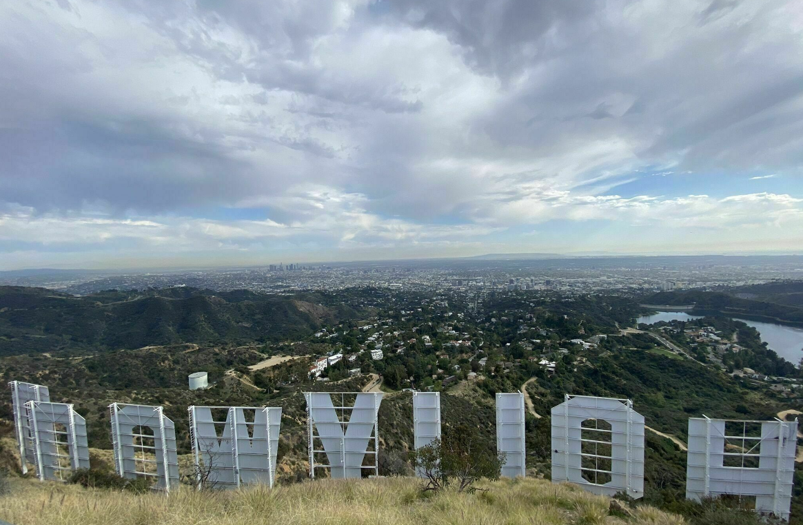 Back view of the Hollywood Sign from Innsdale hike