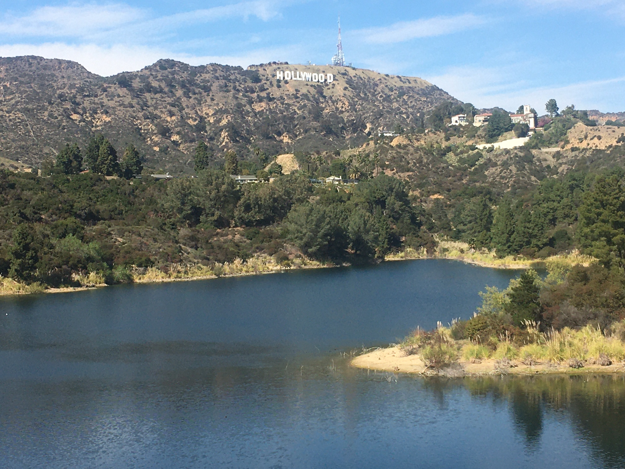 Hollywood Sign visible from Hollywood Resevoir