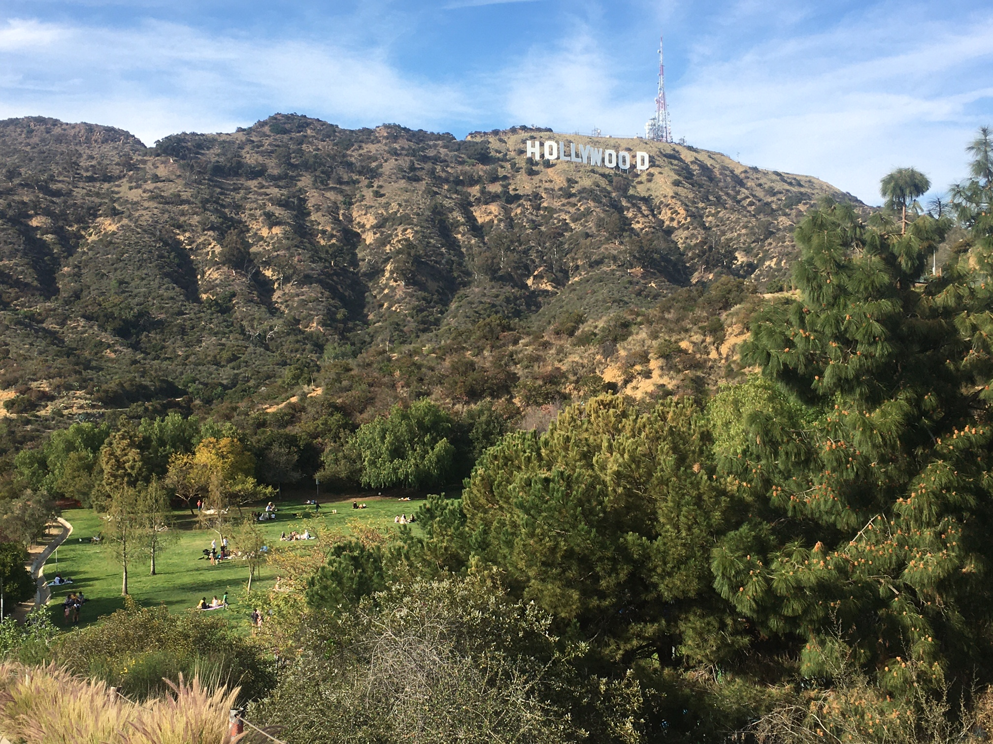 View of Hollywood Sign from Hollywood Lake Park