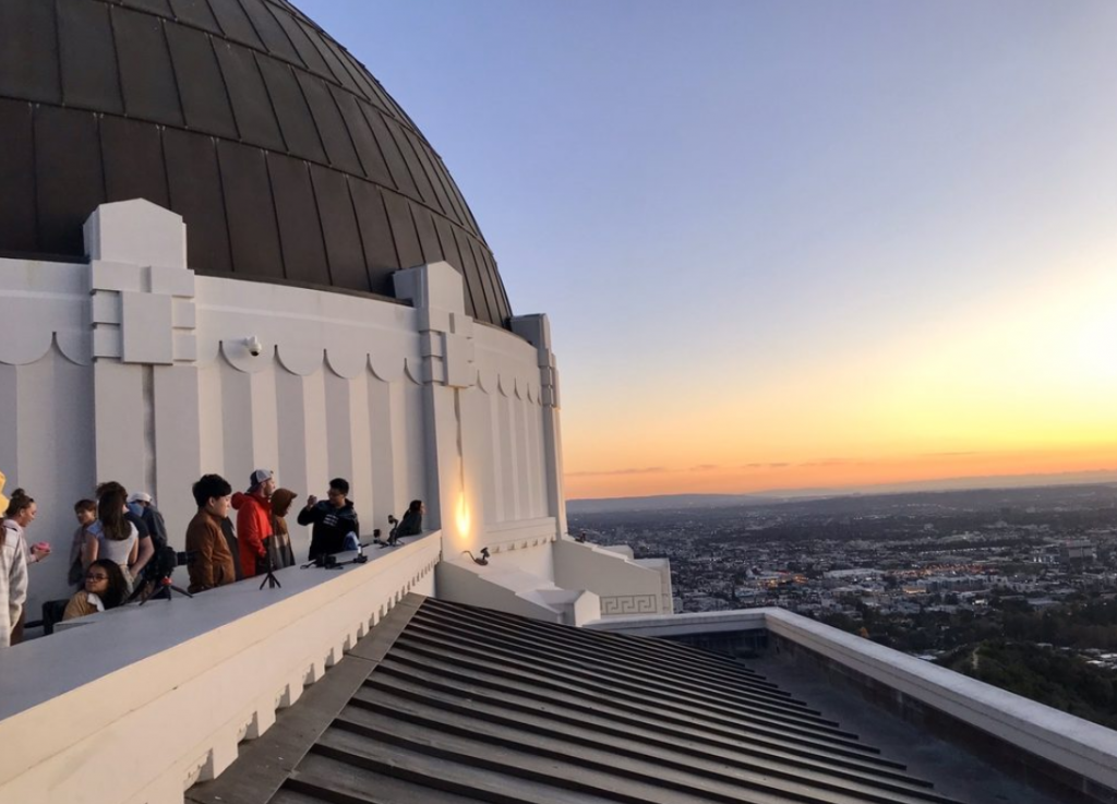 Griffith Observatory at sunset for those taking pictures of the Hollywood Sign at sunset