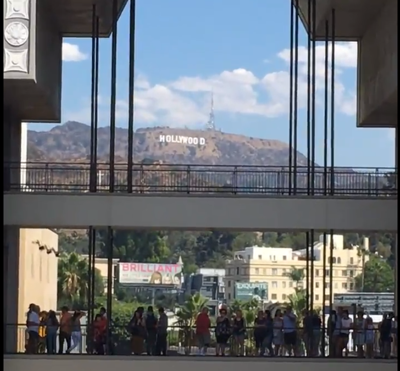 Hollywood sign at the corner of Hollywood Blvd and Highland Ave