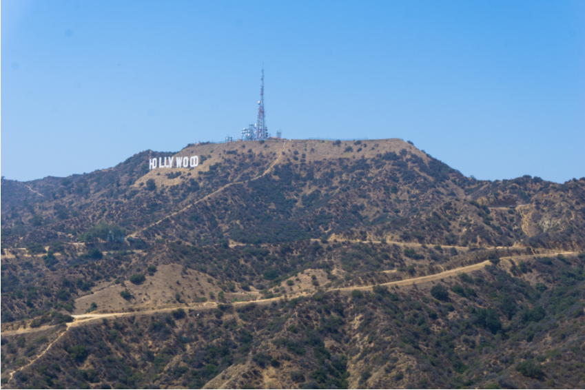 Hollywood Sign visible from Mulholland Drive