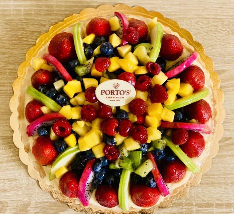 Fruit tart cake at Porto's Bakery